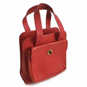 Coach Red Leather Tote Double Flap Turn Locks VTG